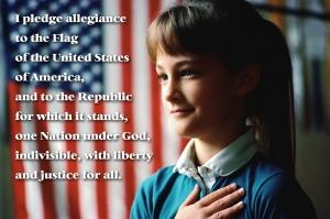 Girl Pledging Allegiance to the Flag